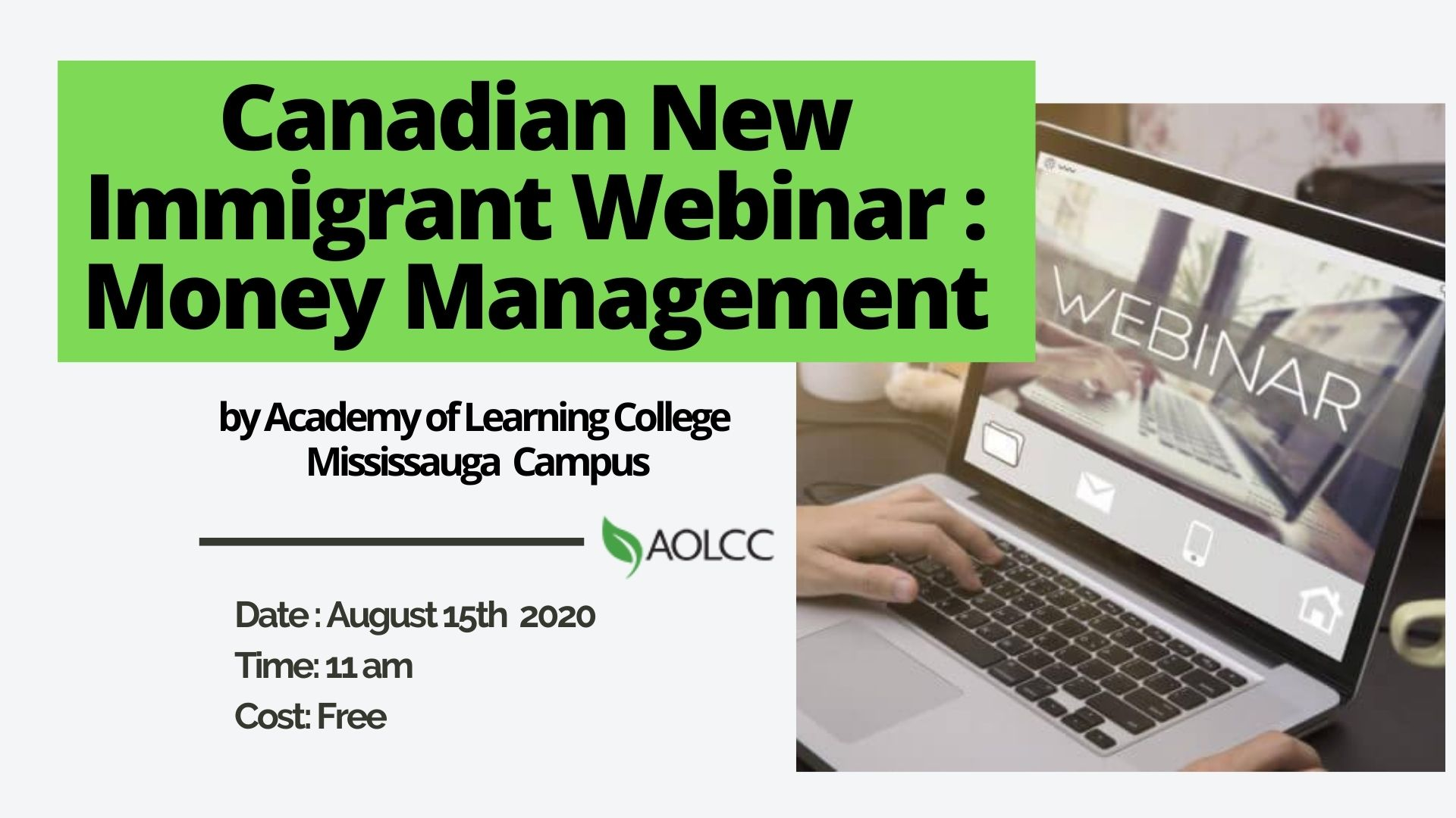 Canadian New Immigrant Webinar : Money Management
