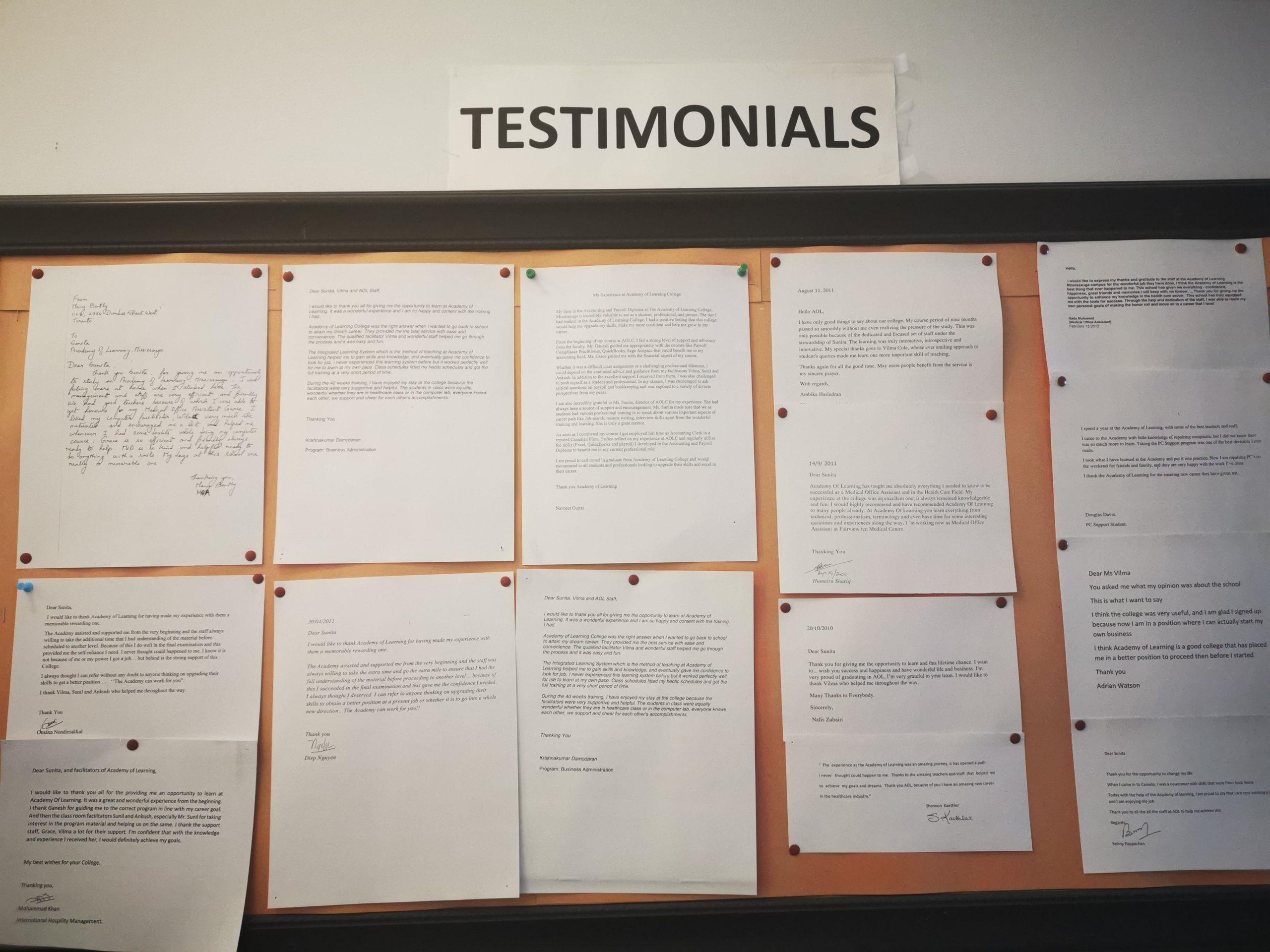 student's testimonials